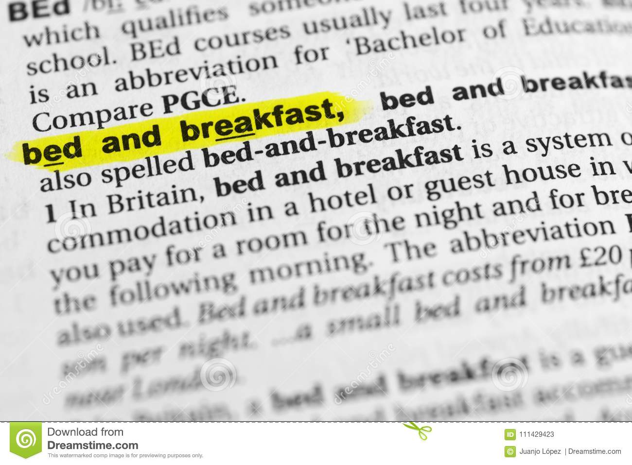 Highlighted English Word Bed And Breakfast And Its Definition In The