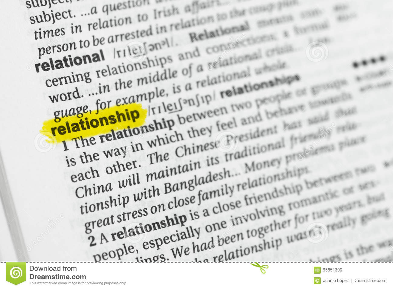 Relationship dictionary definition