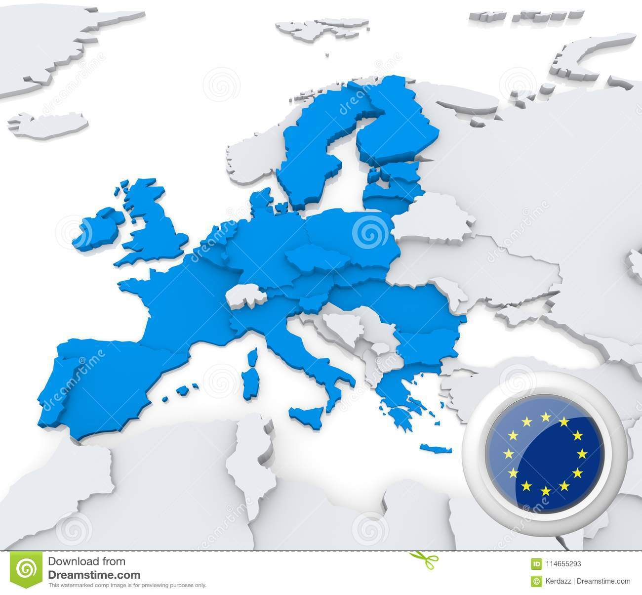 European union on map of europe stock illustration illustration of highlighted european union on map of europe with national flag publicscrutiny Gallery
