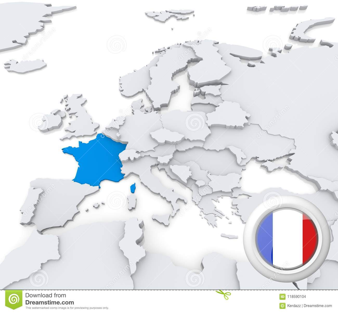 Map Of Europe France.France On Map Of Europe Stock Illustration Illustration Of