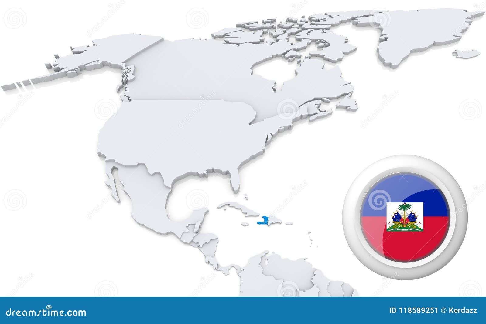 Haiti On A Map Of North America Stock Illustration - Illustration of ...