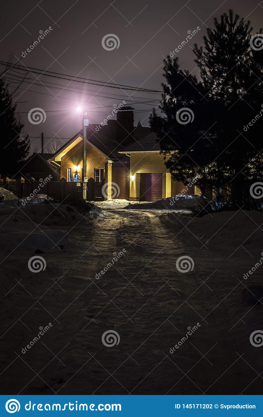 Highlighted house at night