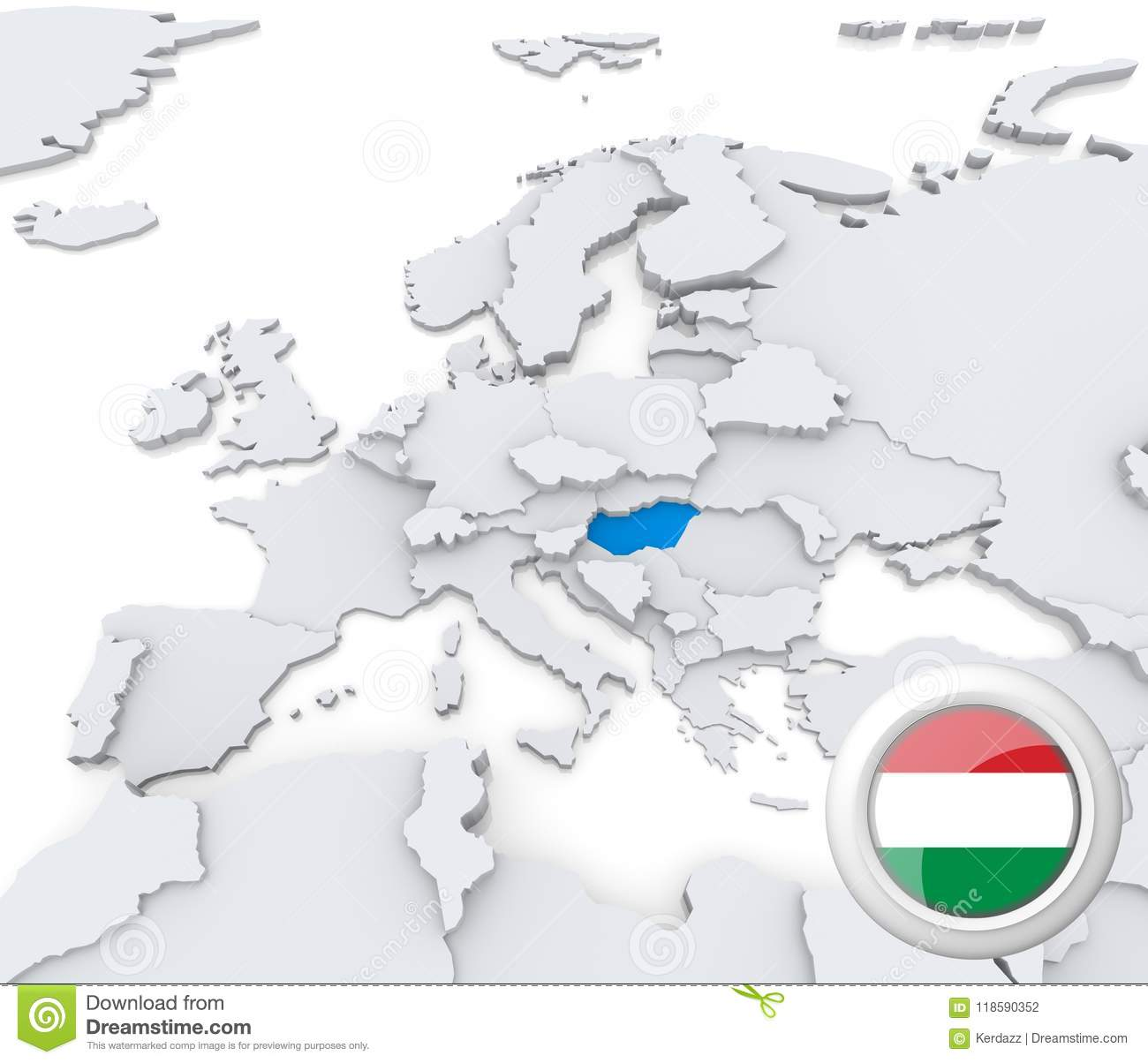 Picture of: Hungary On Map Of Europe Stock Illustration Illustration Of Graphic 118590352