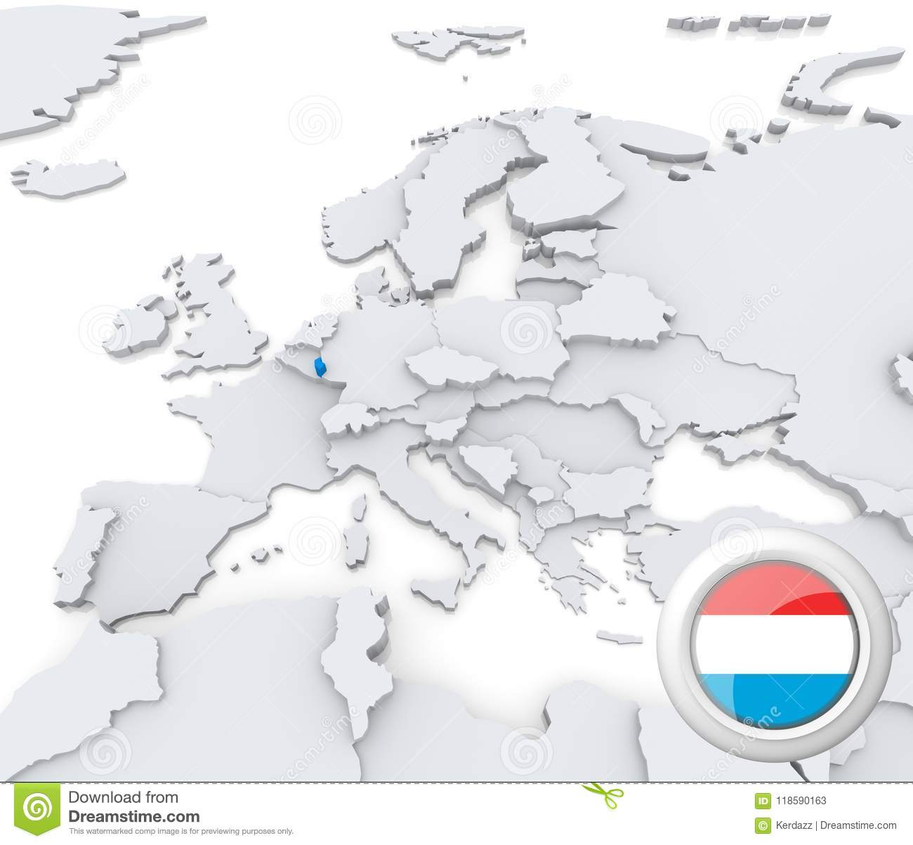 Map Of Europe Luxemburg.Luxembourg On Map Of Europe Stock Illustration Illustration Of