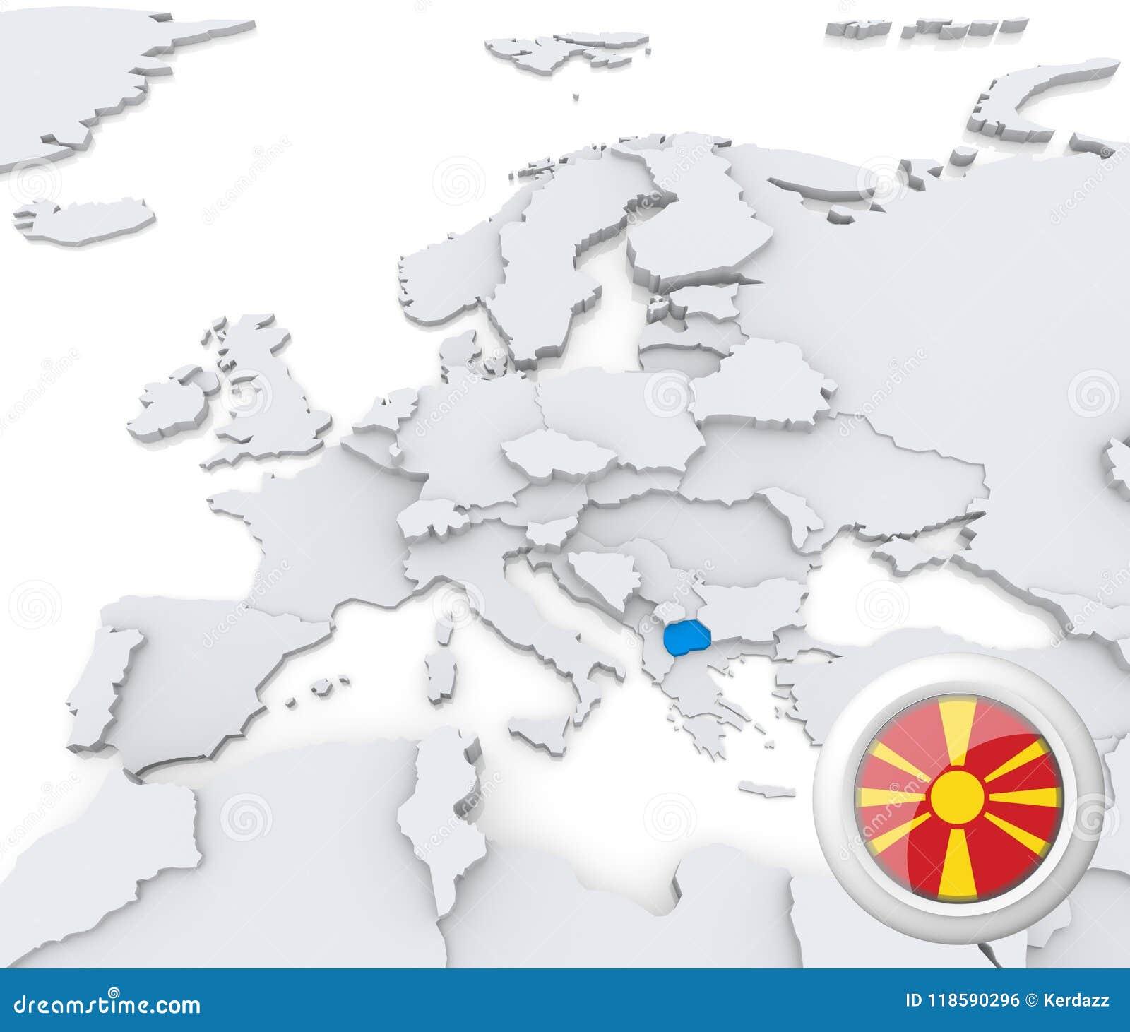 Macedonia On Map Of Europe Stock Illustration Illustration Of Basic