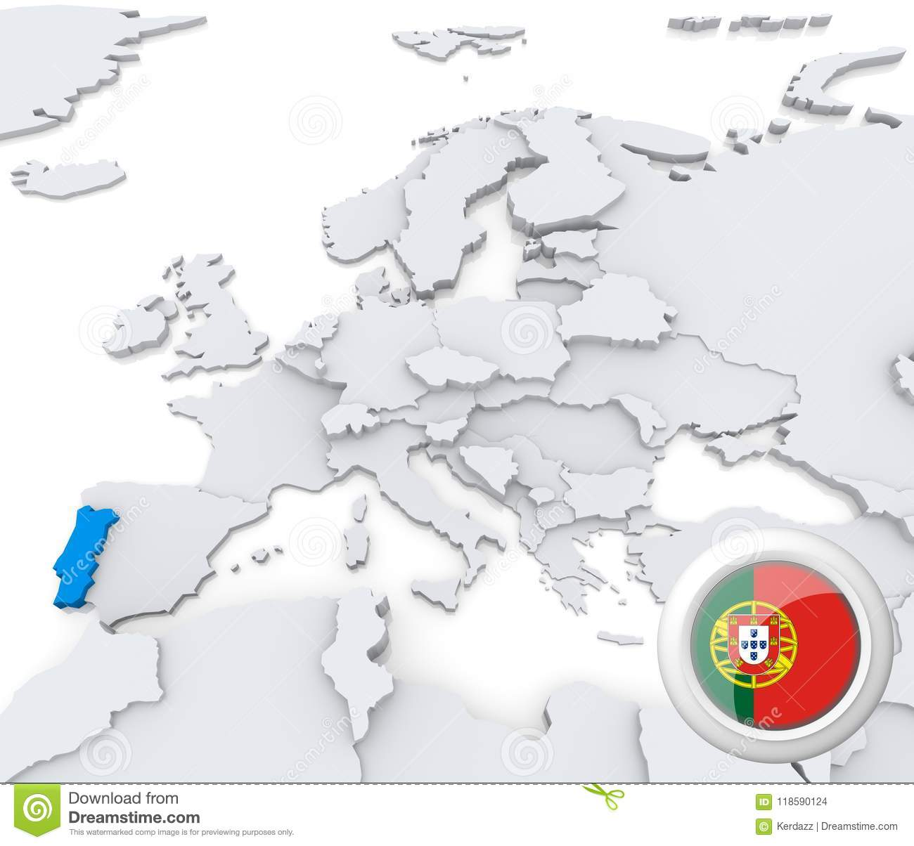 Portugal on map of Europe stock illustration. Illustration of nation ...