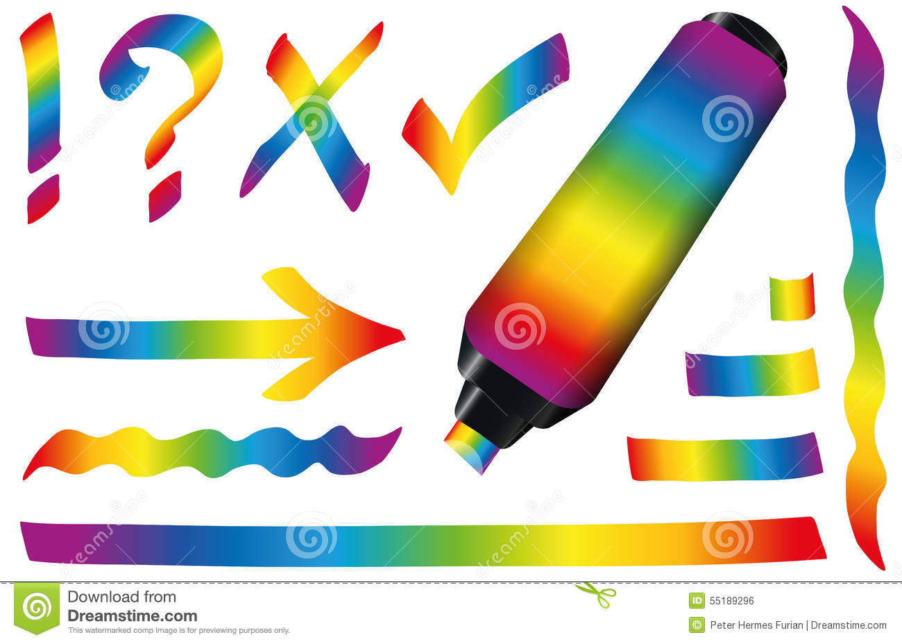 highlighter colors rainbow gradient stock vector image rainbow vector clipart rainbow vector free