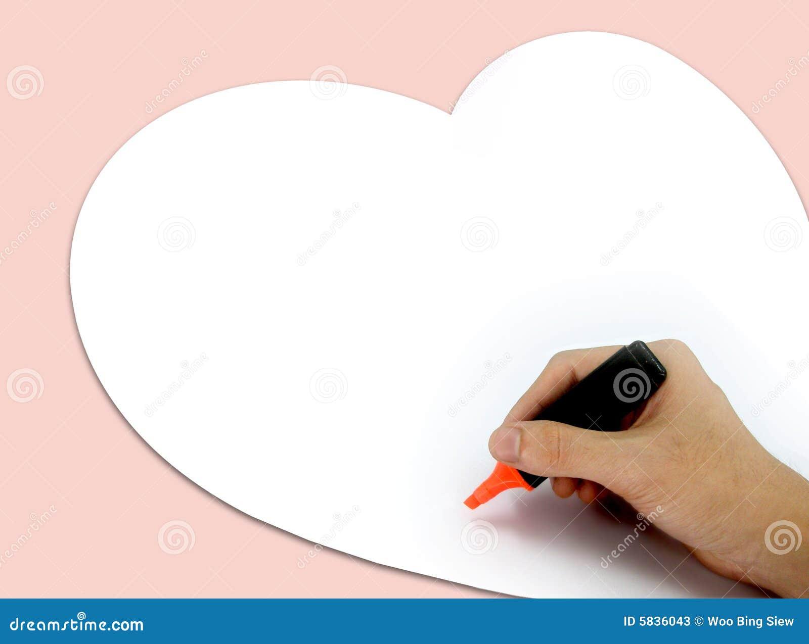 Highlighter con la lettera di amore