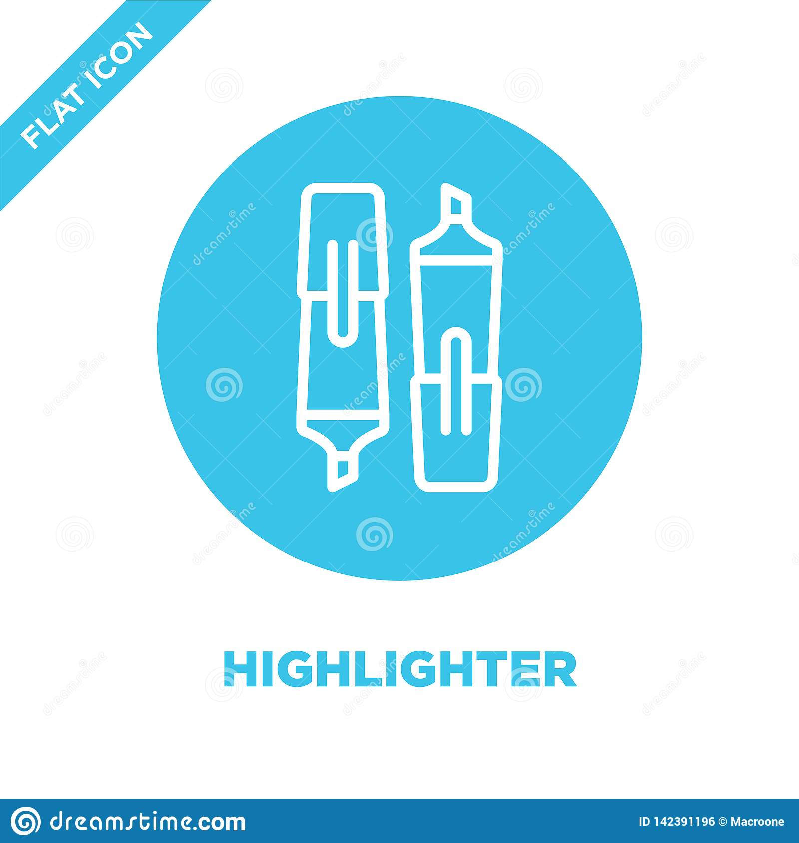 highlighter icon vector from stationery collection. Thin line highlighter outline icon vector  illustration. Linear symbol for use