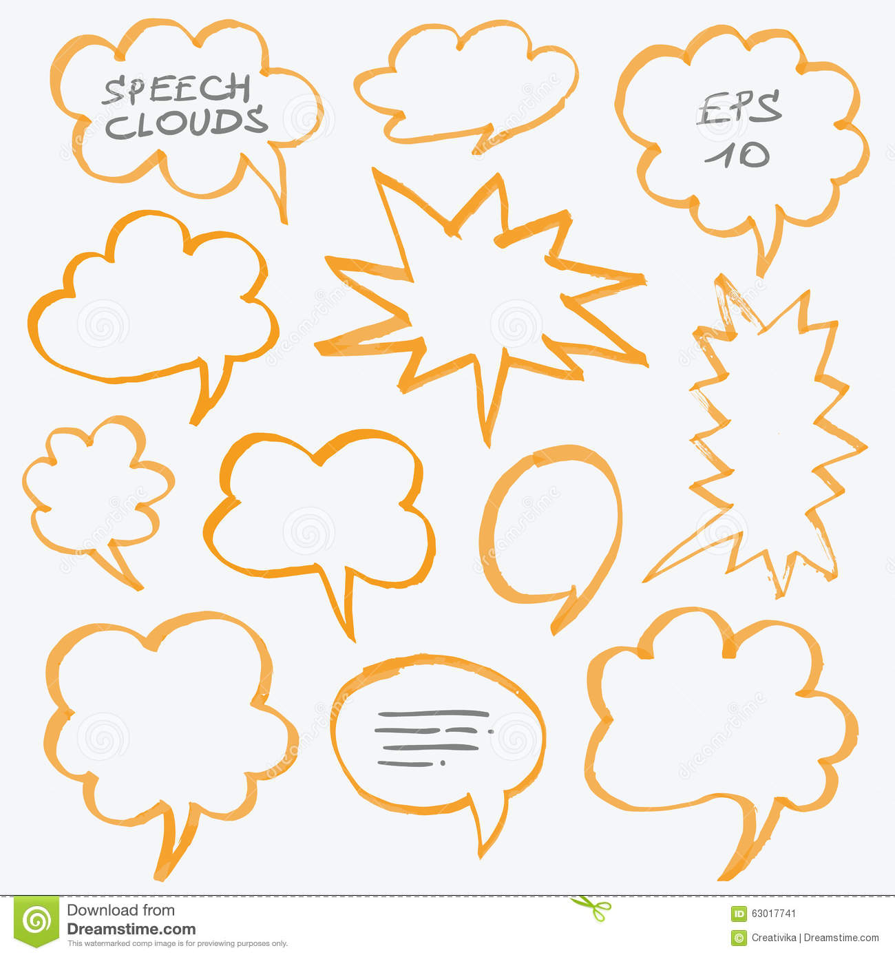 Highlighter Speech Clouds and Bubbles Design Elements