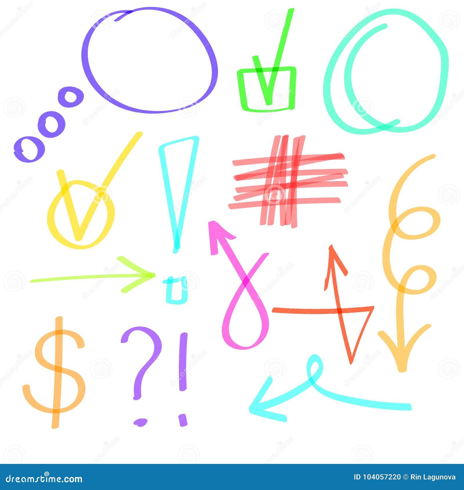 Highlighterhand getrokken pictogrammen Beeldverhaal polair met harten Purpere, oranje, groene, cian blauwe lijnen