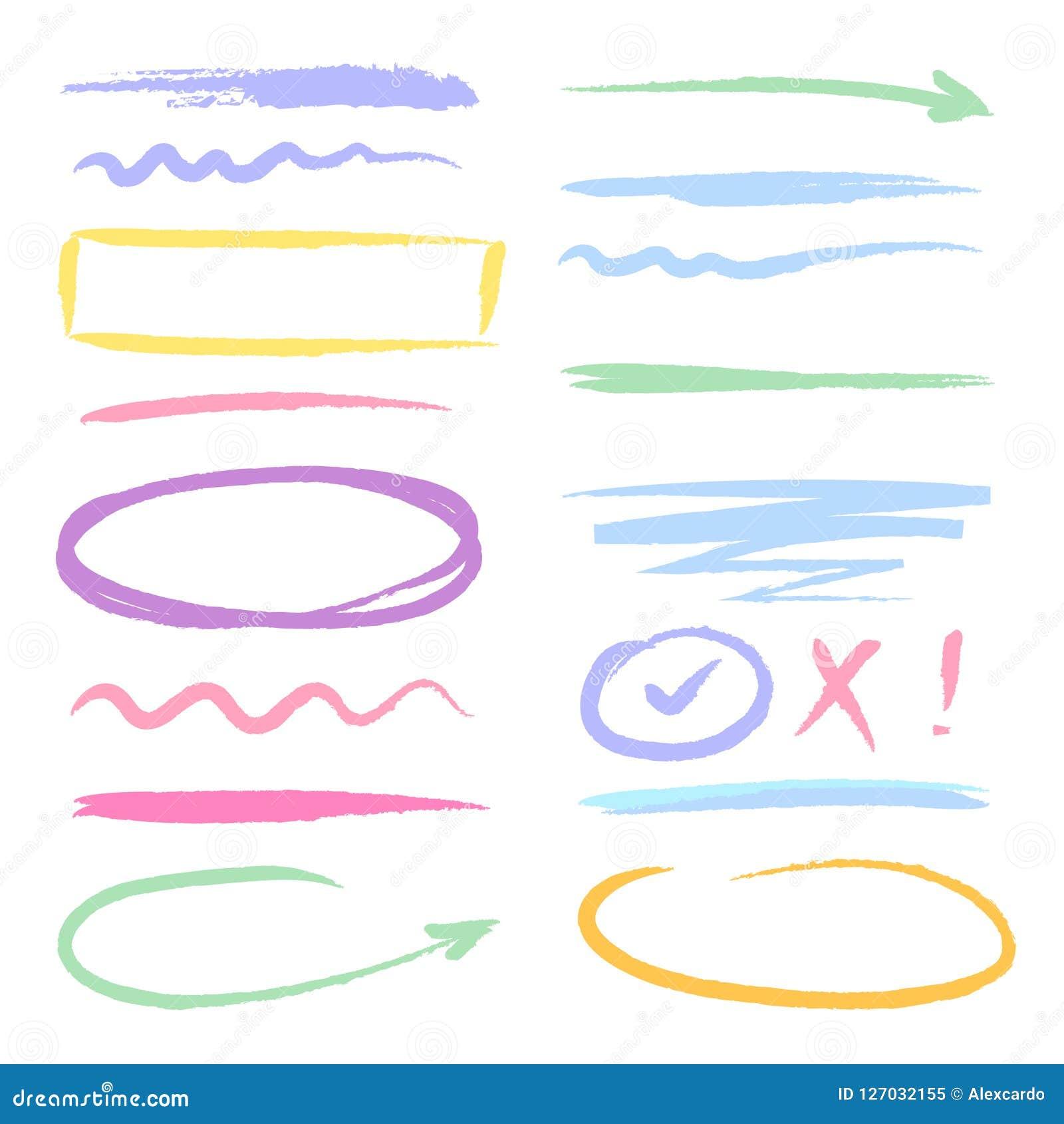 Highlighters del rojo del marcador formas dibujadas mano del garabato de la tinta del cepillo