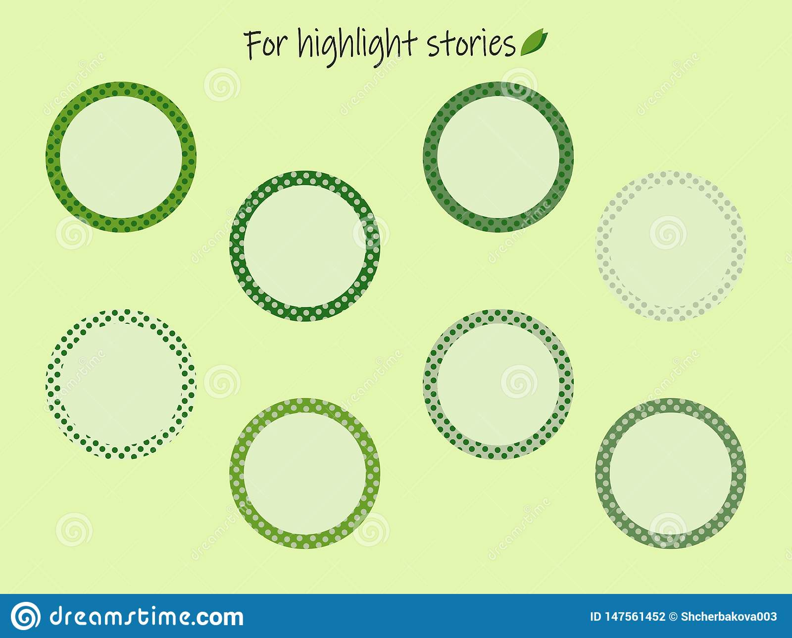 Highlights Story icons with green peas for the inscriptions