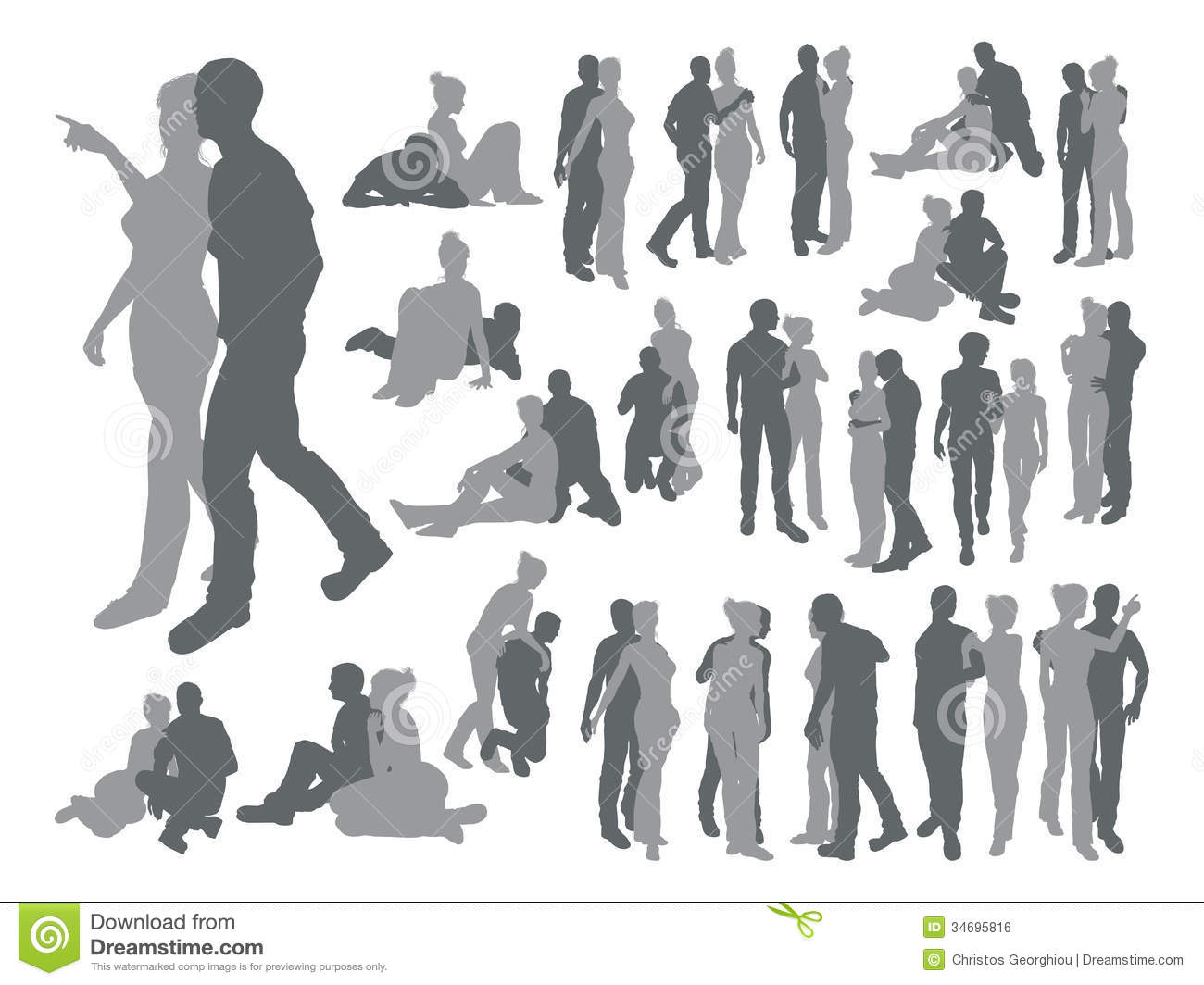 Highly Detailed Couple Silhouettes Royalty Free Stock Image - Image 34695816-7662