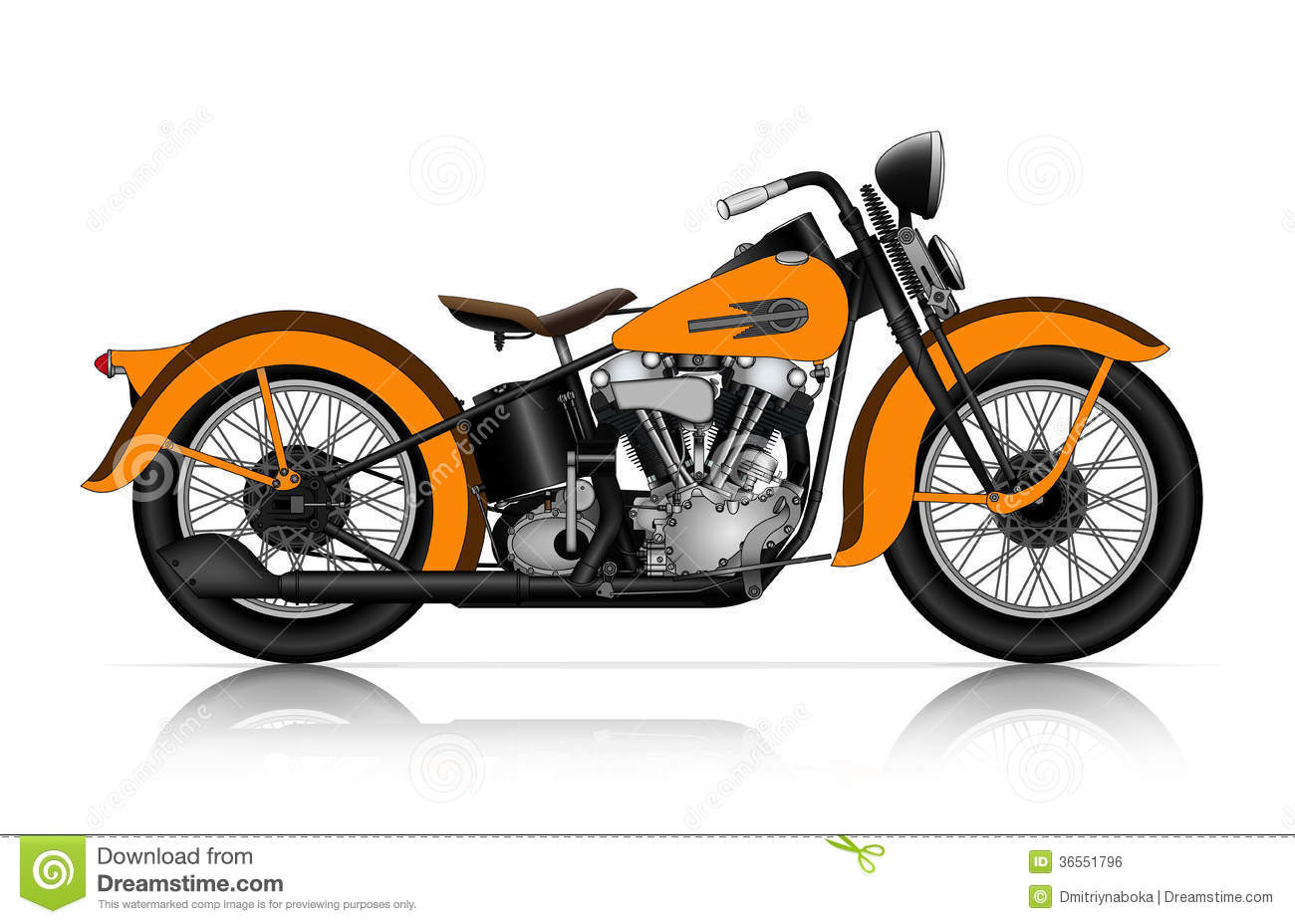 Highly Detailed Illustration Of Classic Motorcycle Royalty Free Stock ...