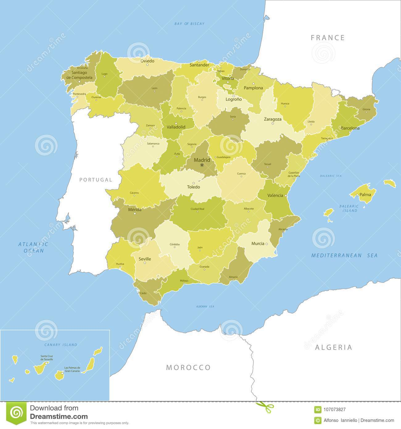 Detailed Map Of Spain.Highly Detailed Map Of Spain Stock Illustration Illustration Of