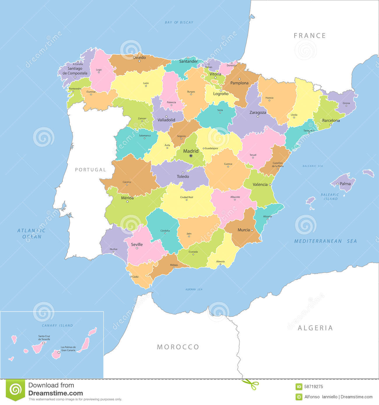 Detailed Map Of Spain.Highly Detailed Map Of Spain Vector Stock Vector Illustration Of