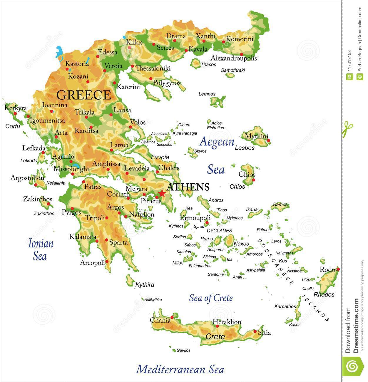 Physical map of Greece stock vector. Illustration of ionian - 117313153