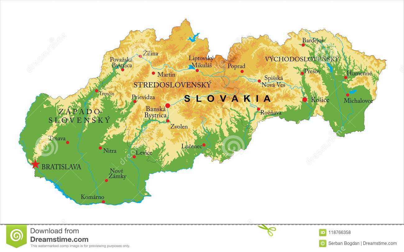 Slovakia relief map stock vector. Illustration of road - 118766358