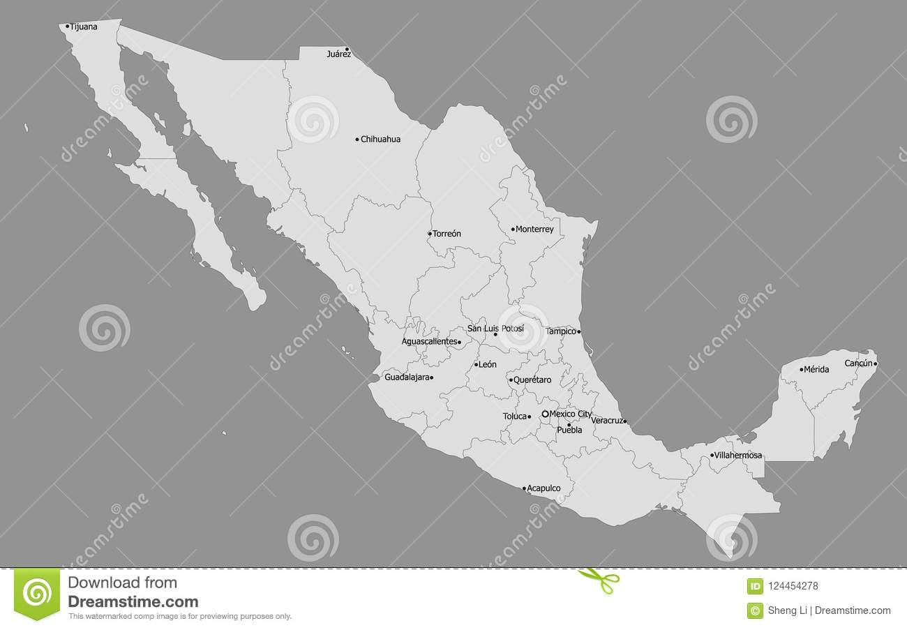 Highly Detailed Political Mexico Map Main Cities Stock Vector