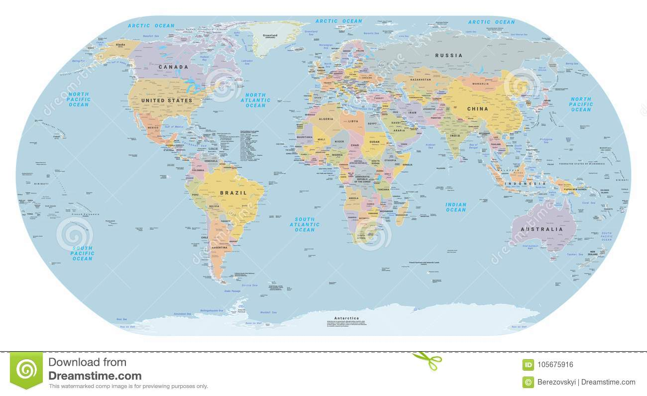 Highly detailed political world map eps 10 vector stock vector highly detailed political world map eps 10 vector royalty free vector gumiabroncs Images