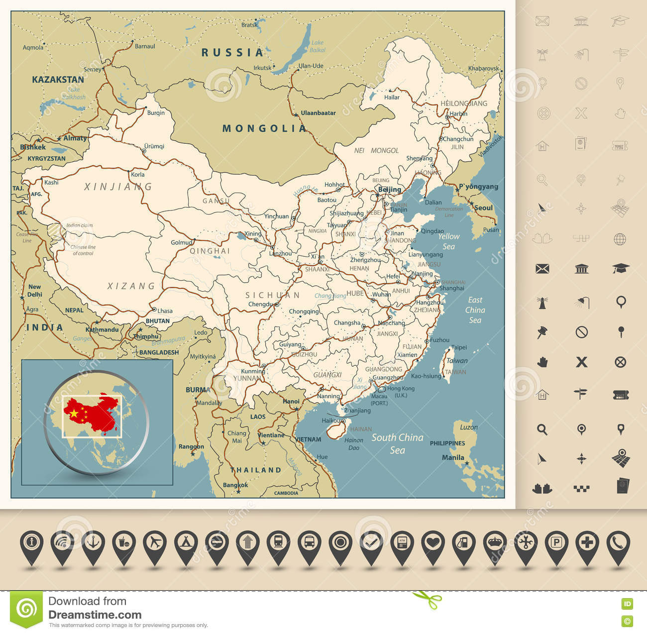 Rivers Map Of China.Highly Detailed Road Map Of China With Roads Railroads Rivers