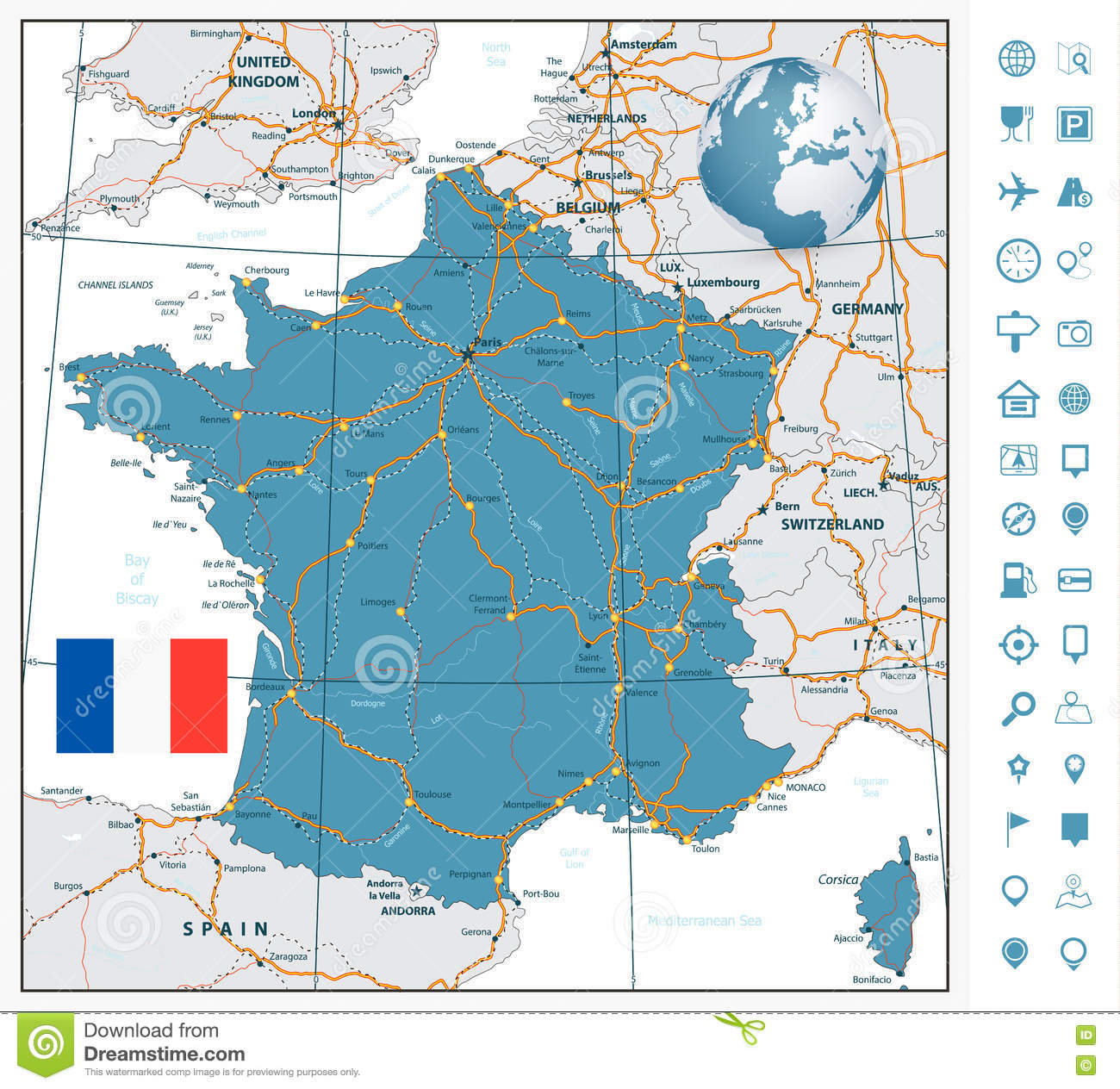 Labeled Map Of France.Highly Detailed Road Map Of France With Navigation Labels Stock