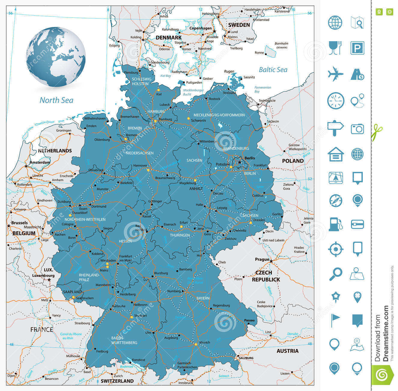 Map Of Germany With Rivers.Highly Detailed Road Map Of Germany With Rivers And Navigation Stock