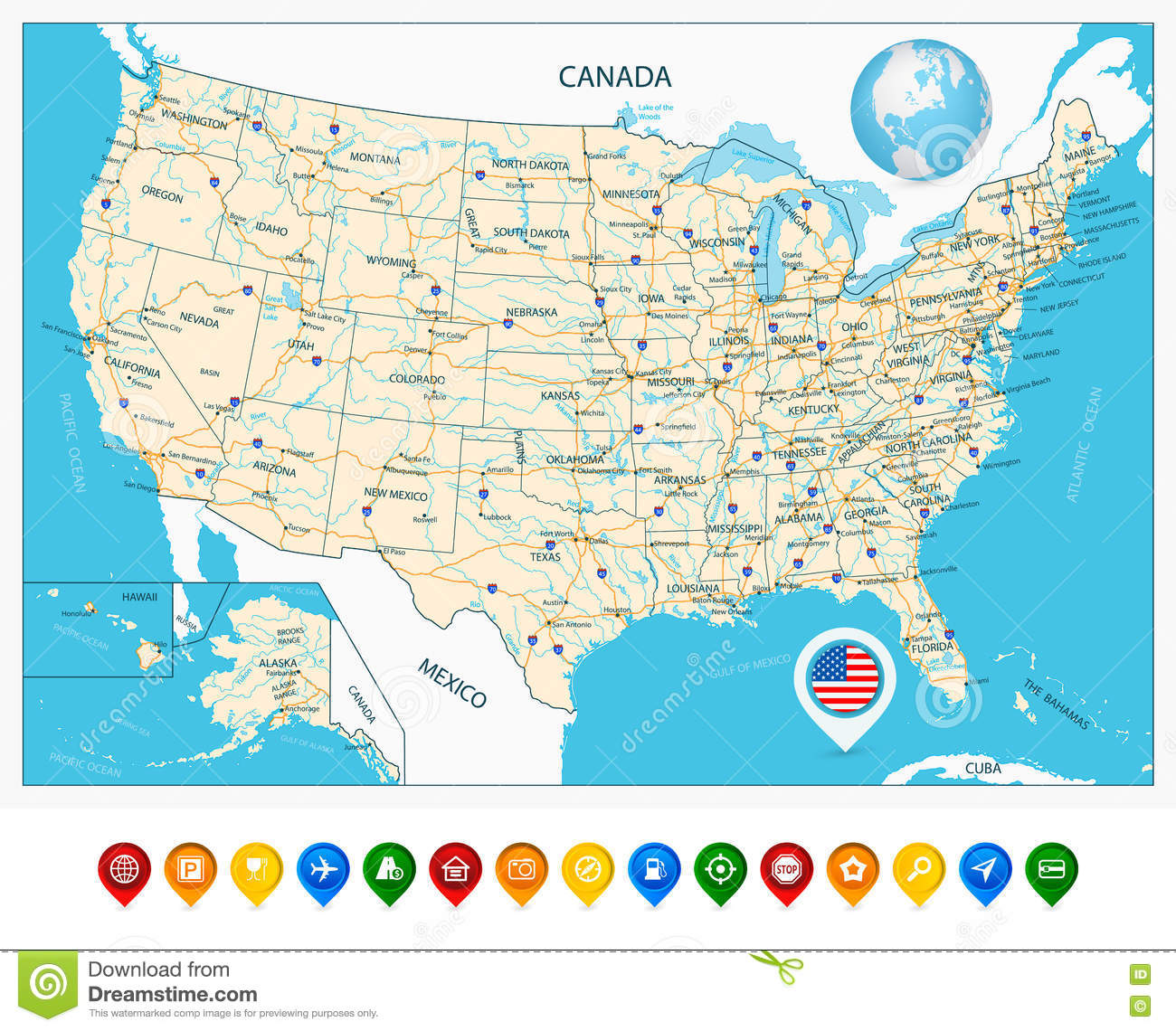 Highly Detailed Road Map Of United States And Colorful Map Point ...