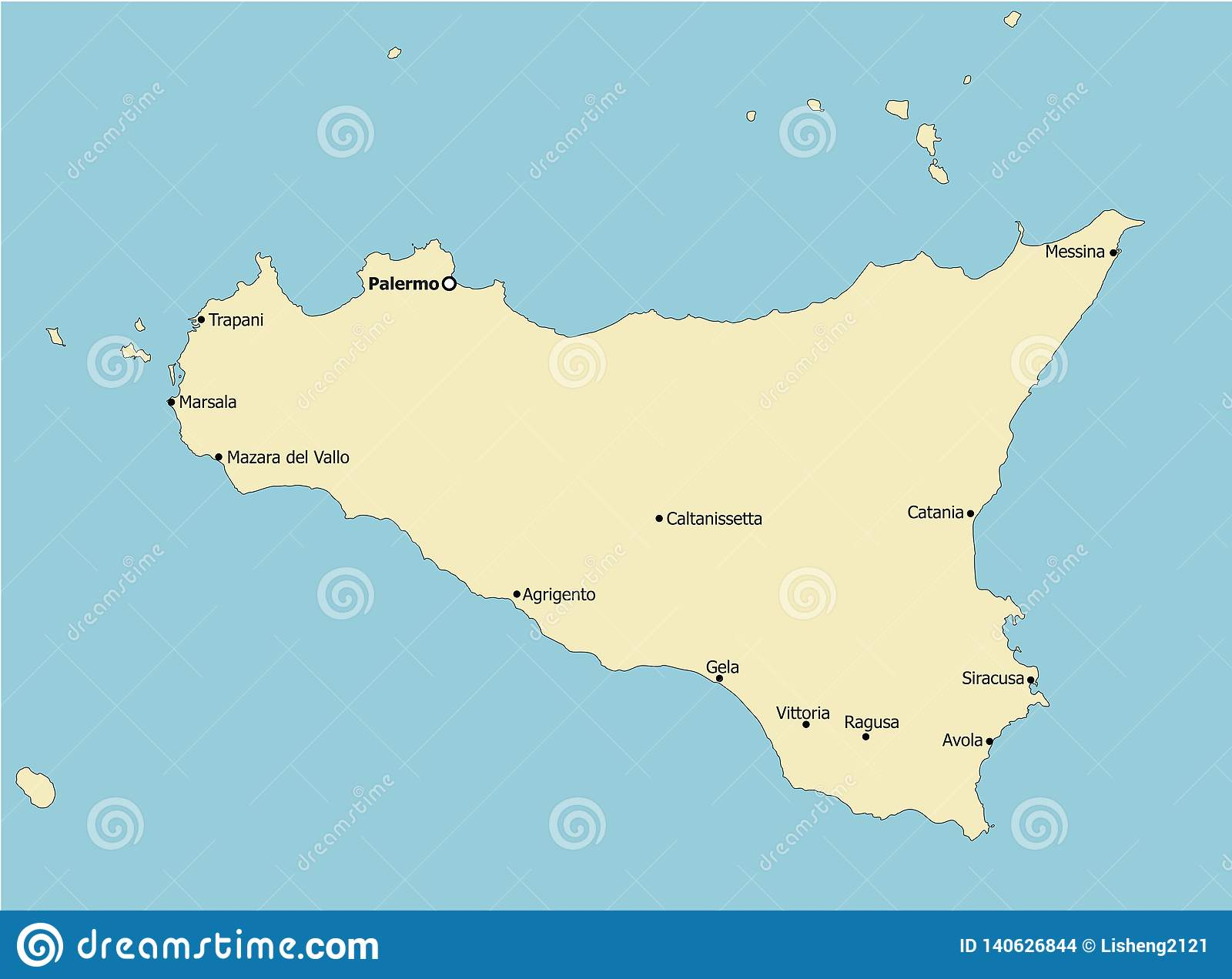 Sicily On Map Of Italy.Highly Detailed Sicily Map Italy Main Cities Stock Vector