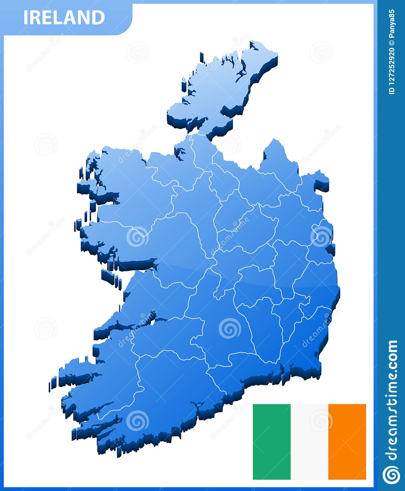Detailed Map Of Ireland.Highly Detailed Three Dimensional Map Of Ireland With Regions Border