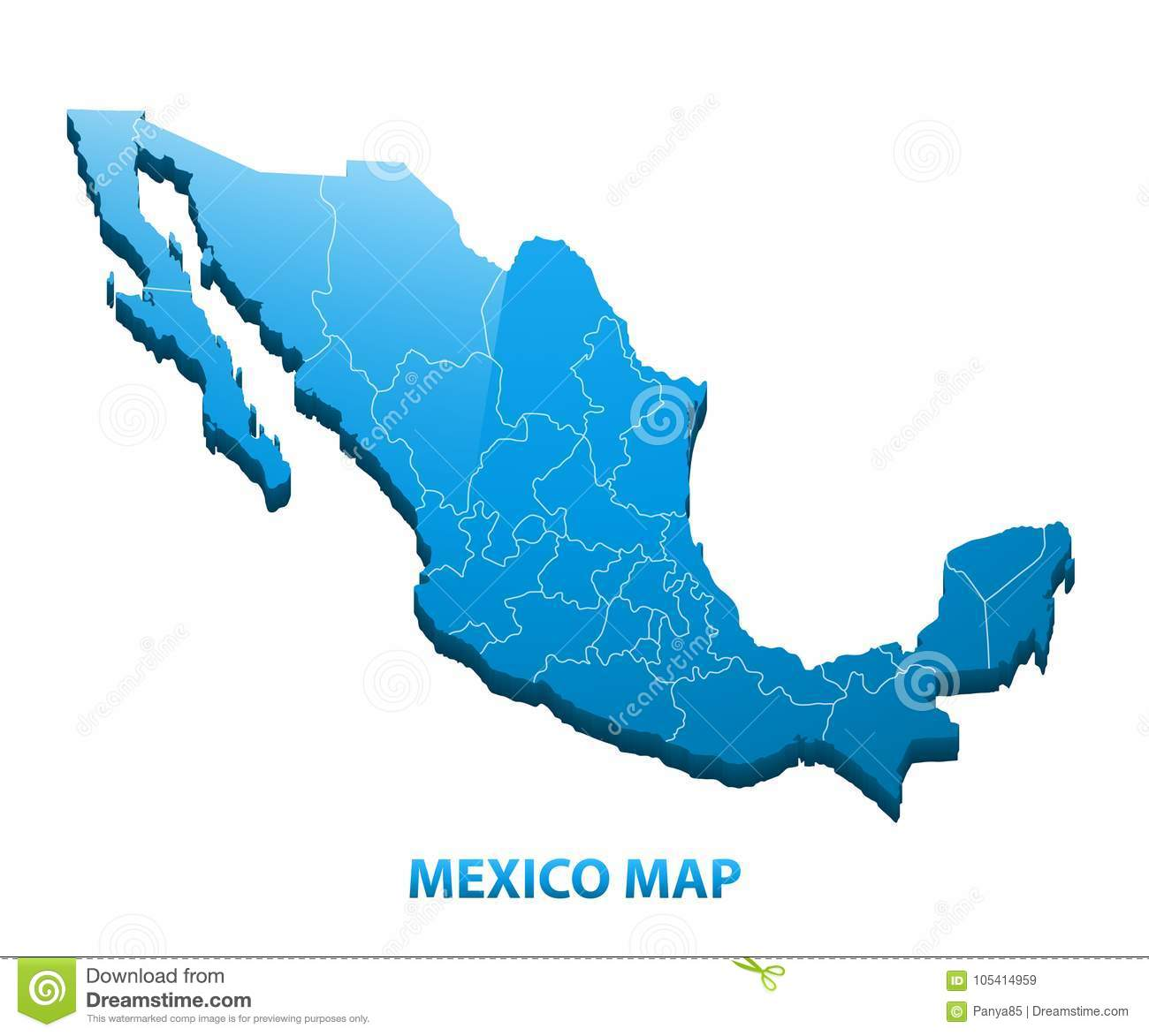 Highly Detailed Three Dimensional Map Of Mexico With Regions Border ...