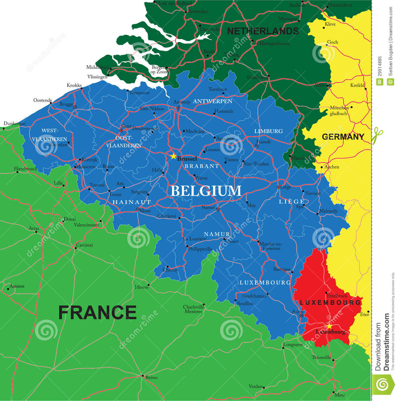 Belgium Map Royalty Free Photo Image 29914885 – Map of Belgium with Cities