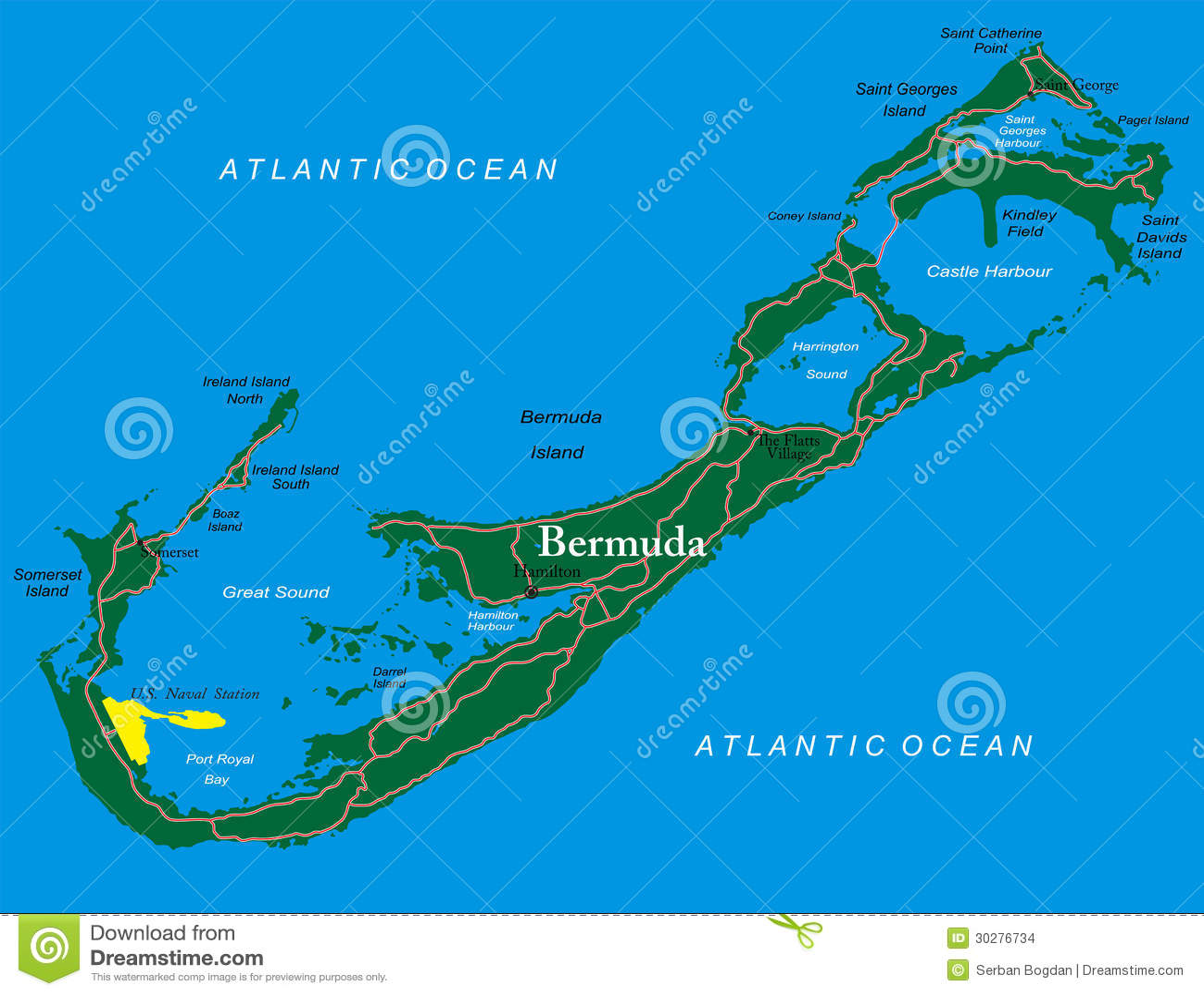 Bermuda Map Stock Images Image 30276734