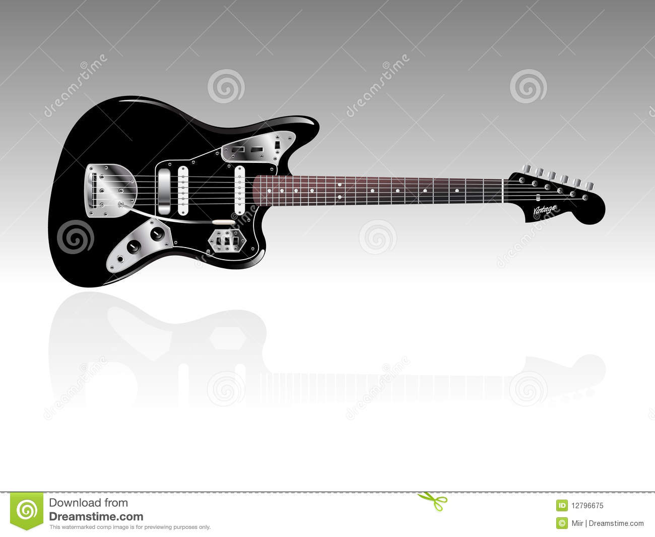 Highly Detailed Vintage Electric Guitar