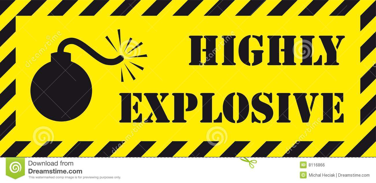 Cautionary signboard with bomb symbol and a    Highly explosive    Explosive Symbol Vector