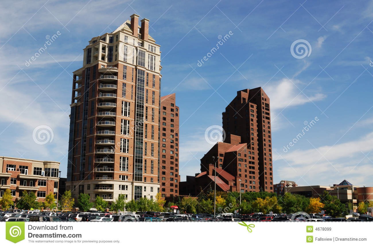 Highrise Apartments In Calgary Downtown Stock Image ...