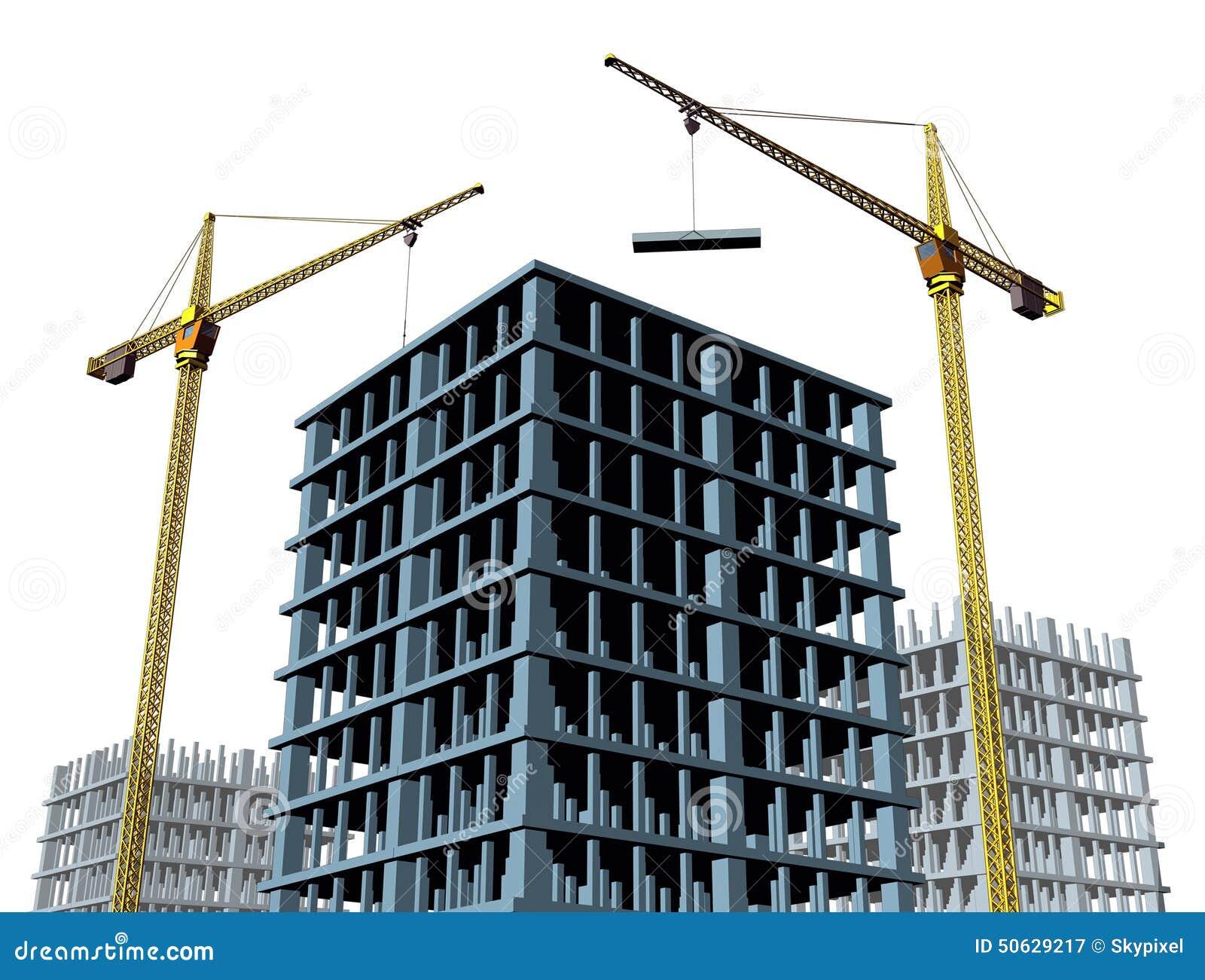 Building Construction Clip Art : Highrise construction site stock illustration