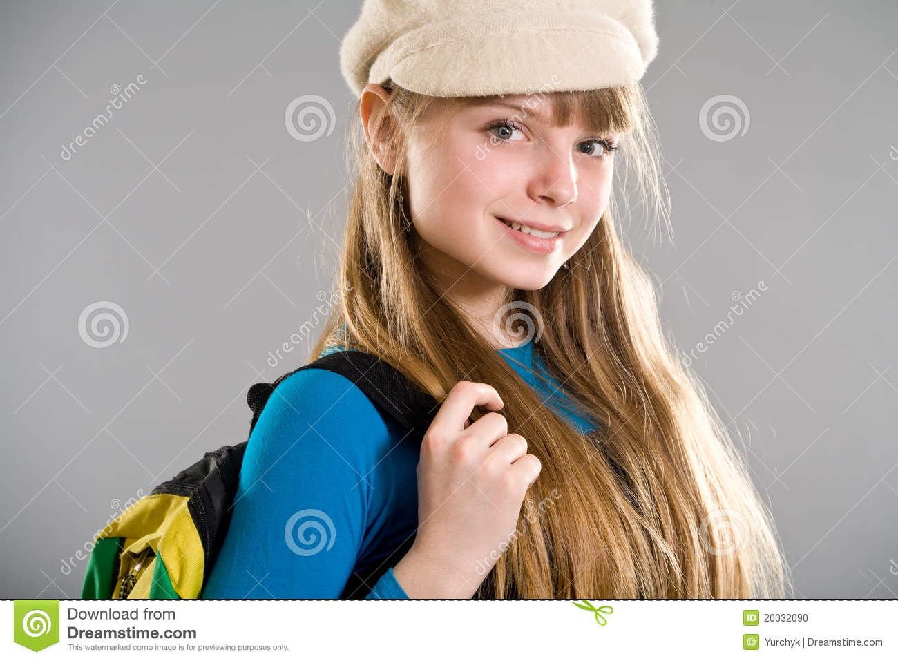 Highschool girl wearing beret