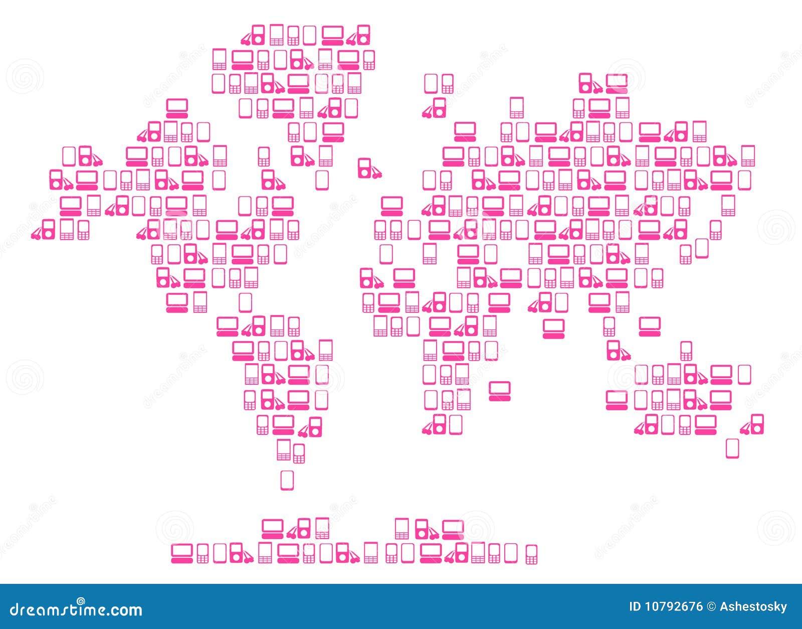 Hightech- Weltkarte