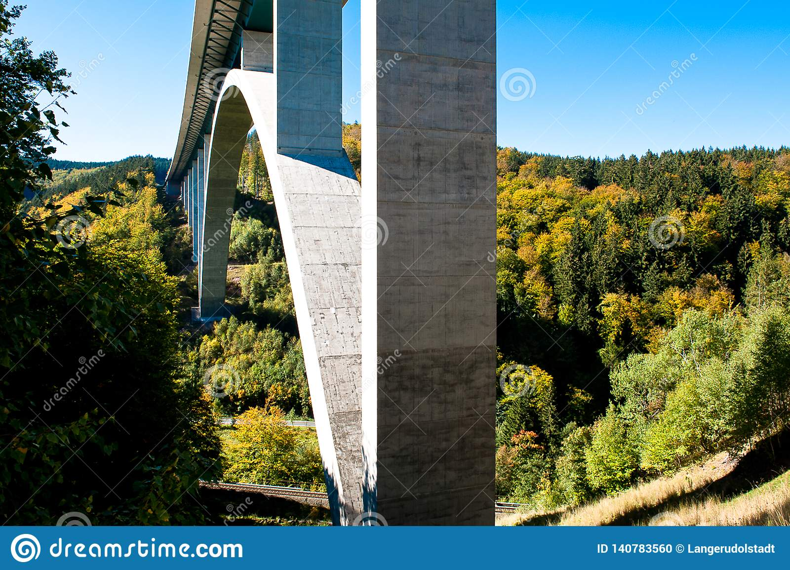 Highway Bridge, A 71, in autumn, Thuringia, Germany