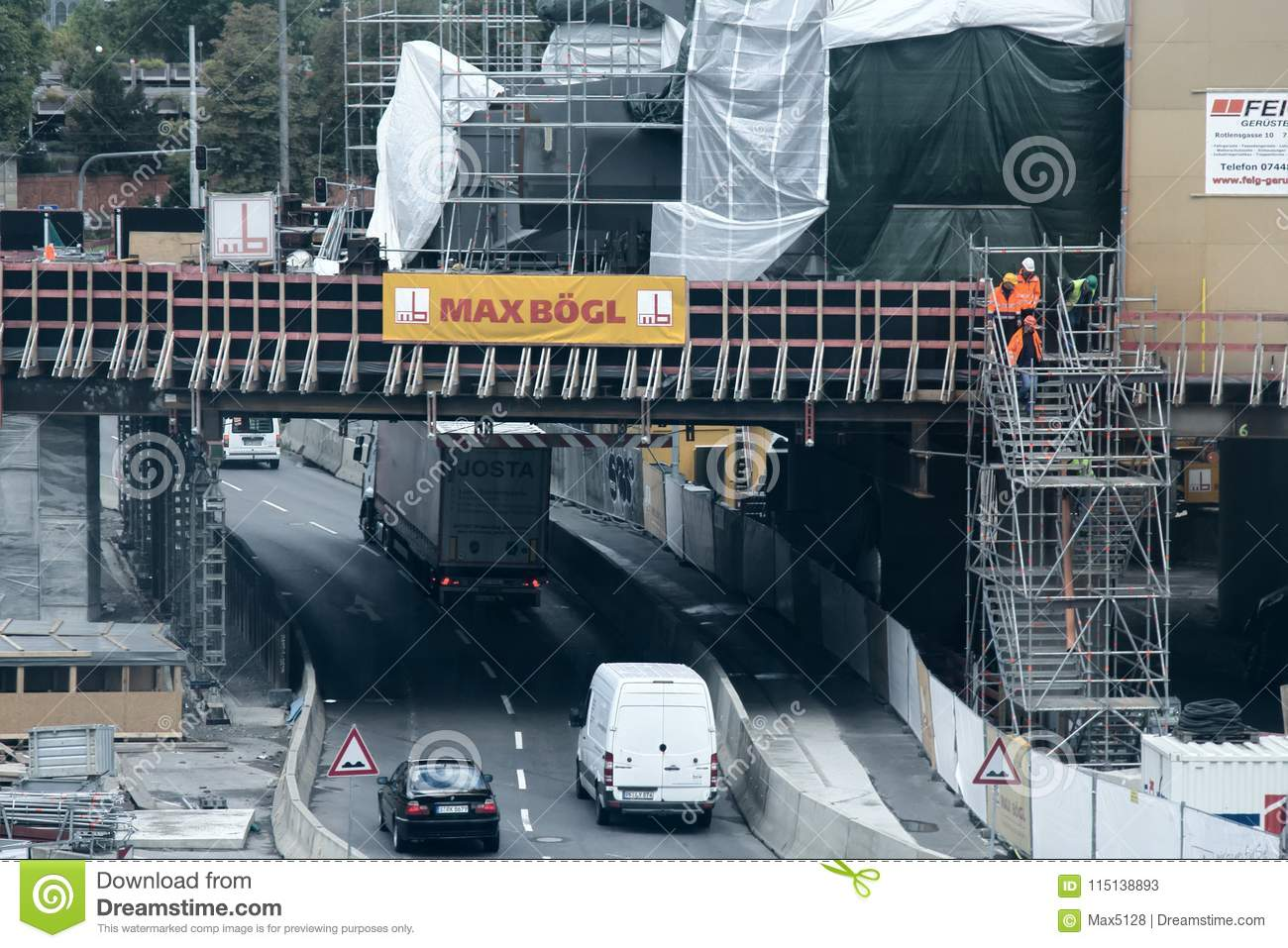 Highway Bridge In Construction Process Editorial Stock Photo - Image