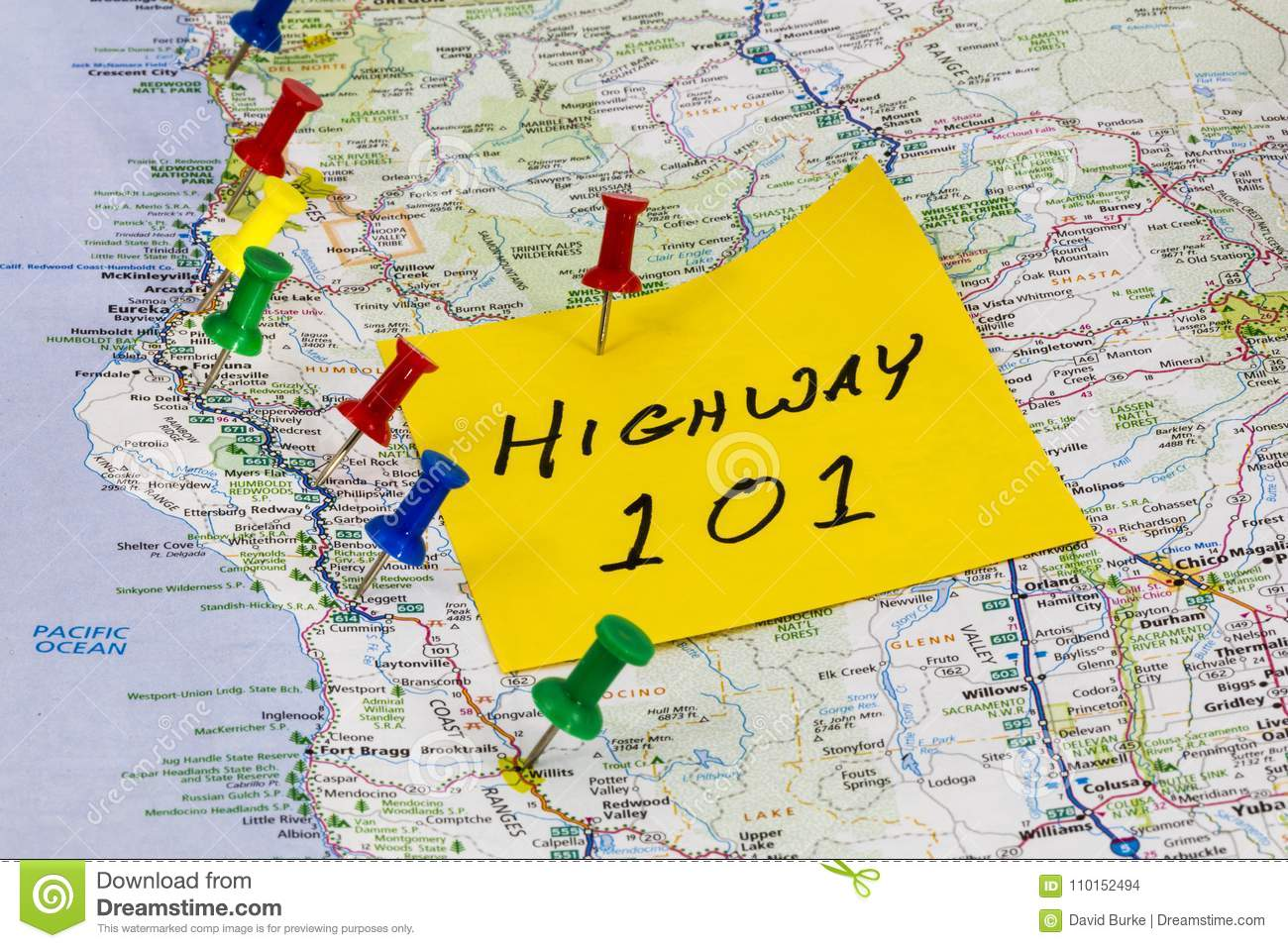 Highway 101 California Map.Highway 101 California Coastline Stock Photo Image Of Message