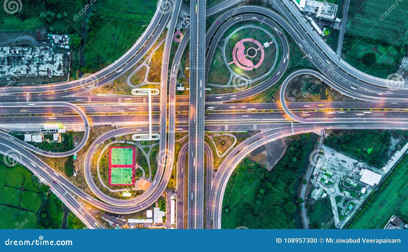 Highway, Expressway, Motorway, Toll way at night, Aerial view in