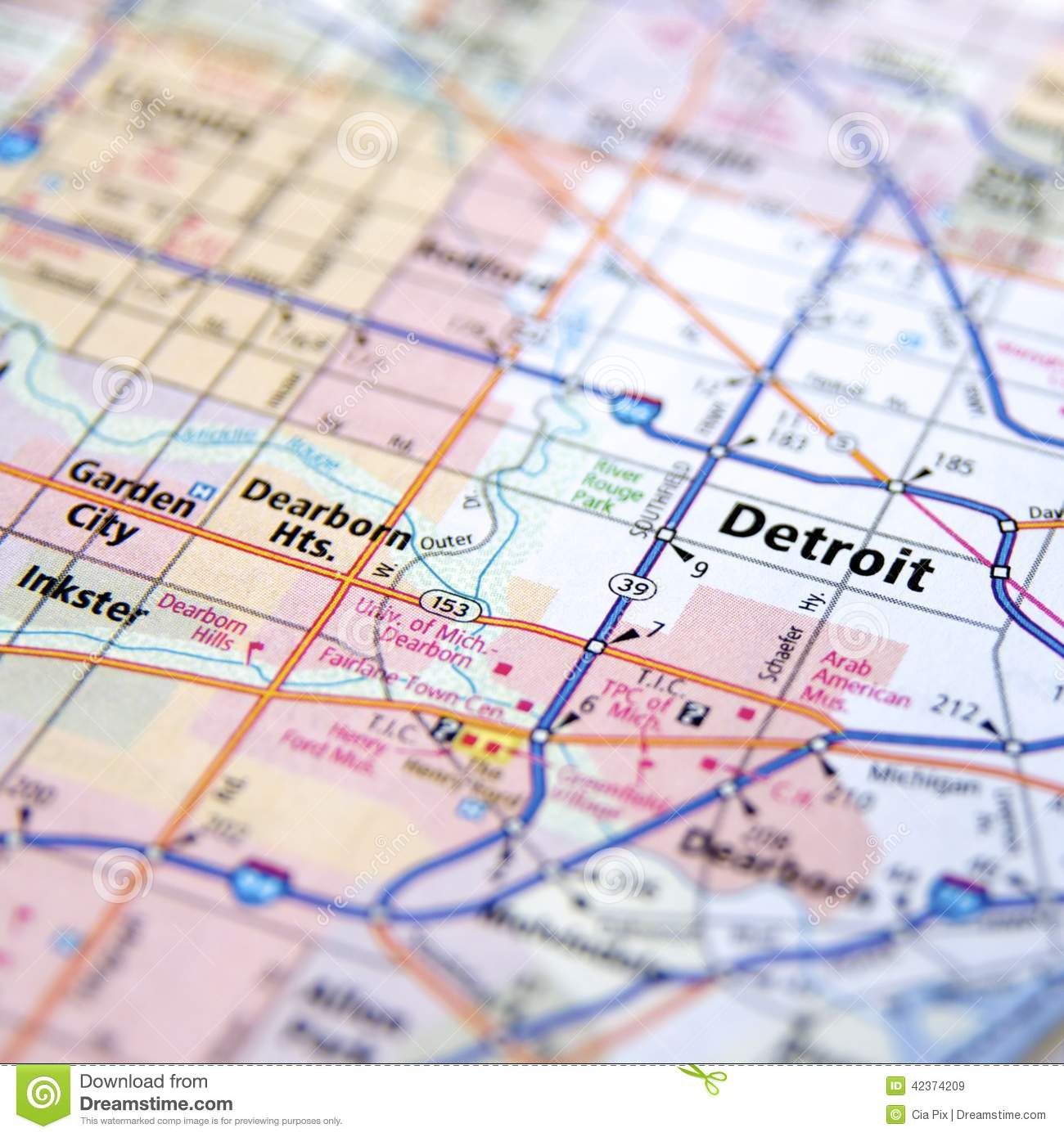 Highway Map Of Detroit Michigan Stock Image - Image of ...