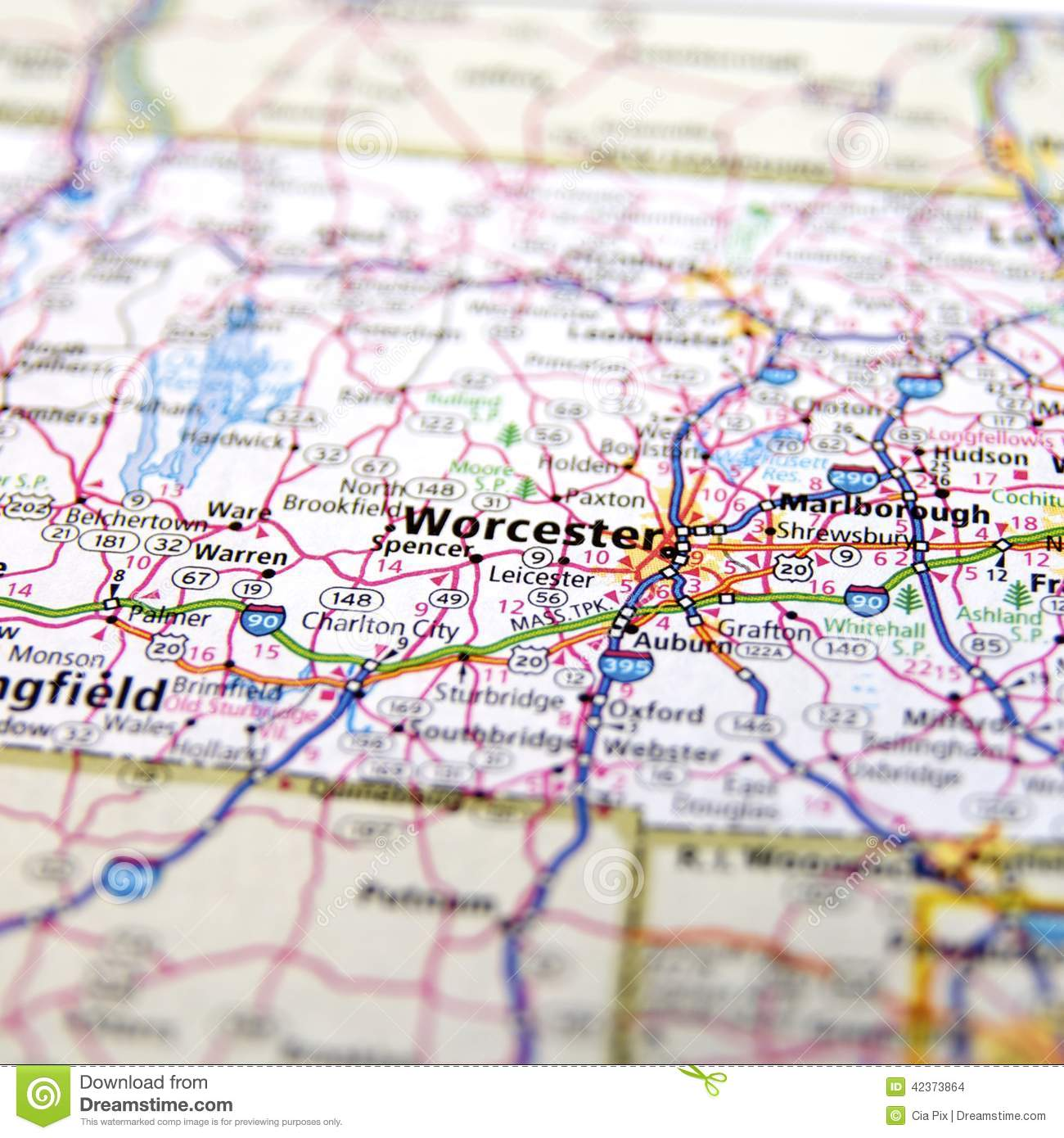 Highway Map Of Massachusetts USA Stock Photo Image of hudson