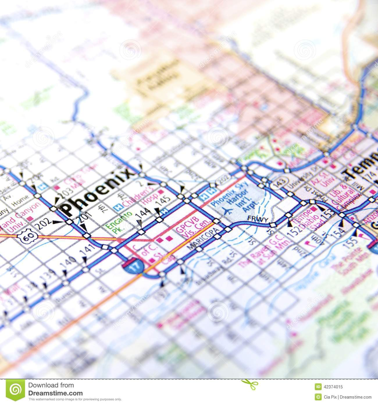 Highway Map Of Phoenix Arizona Stock Image - Image of places, grid ...
