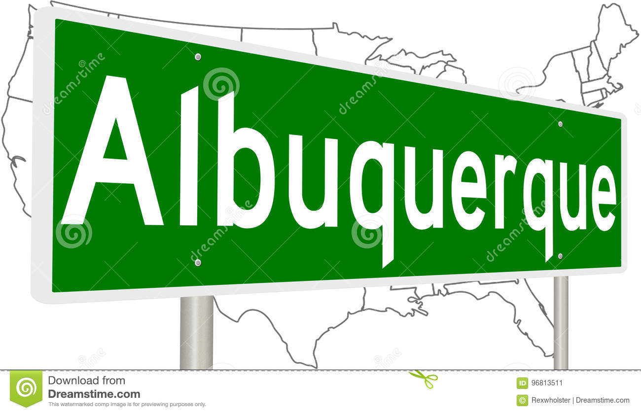 Highway Sign For Albuquerque Stock Illustration - Illustration of ...