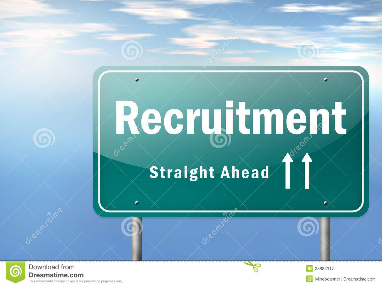 Highway Signpost Recruitment Royalty Free Stock