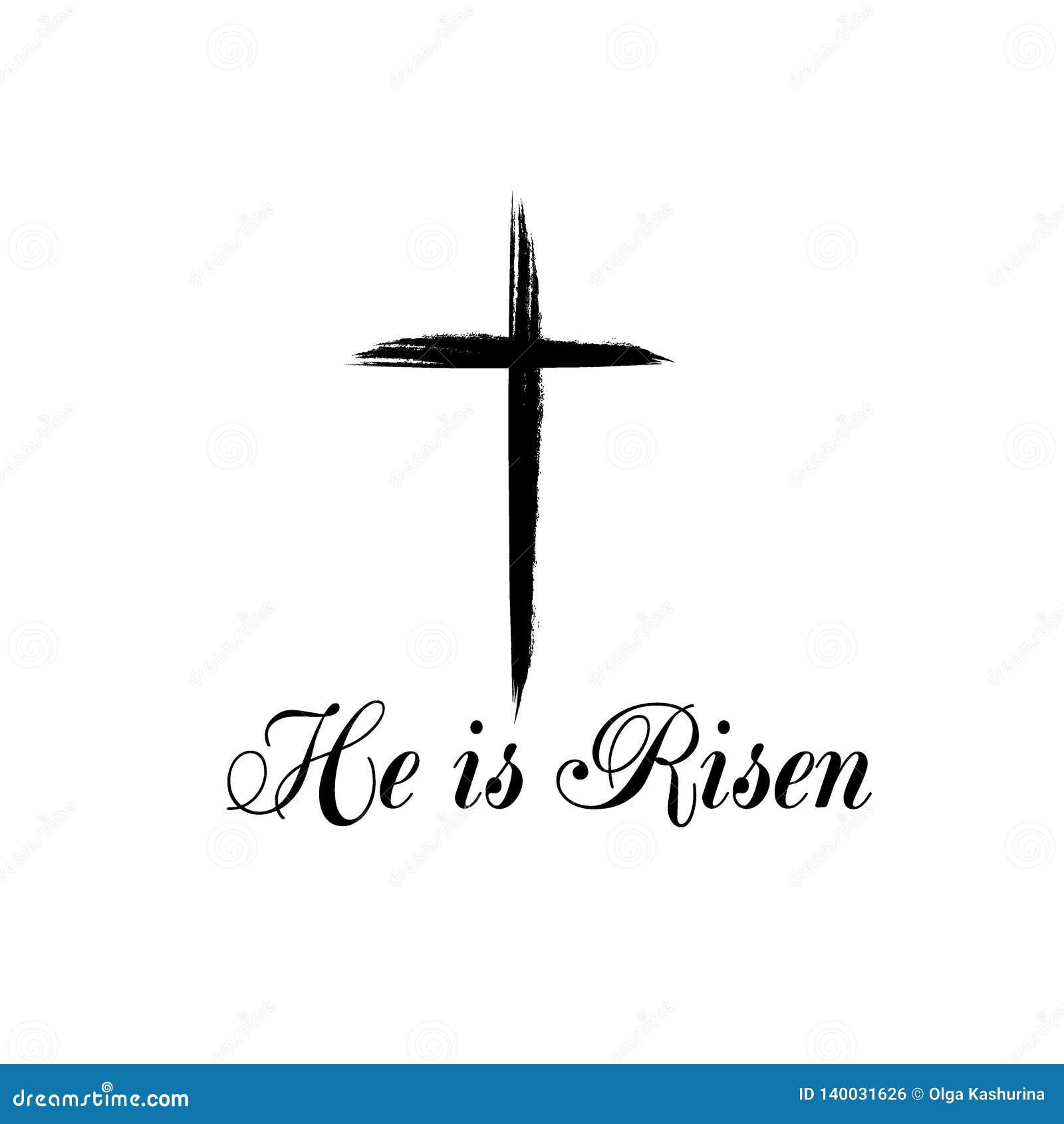 Hij is Toegenomen tekst met kruis op witte achtergrond